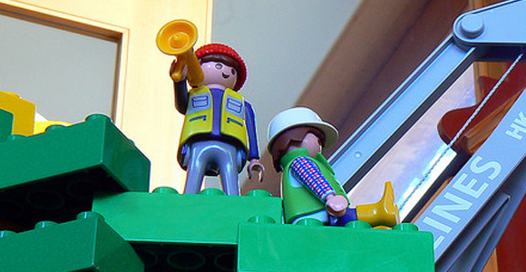 Lego men dressed as builders