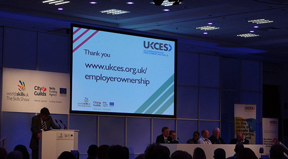 Photo showing the UKCES closing presentation at the Skills Show