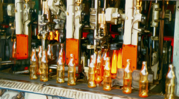 Glass bottles being produced